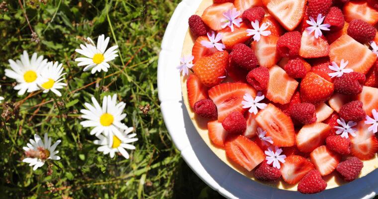 Jahodový cheesecake dort